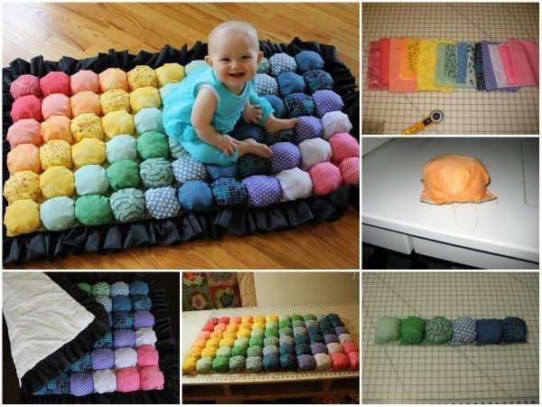Tapis douillet pour enfant et bébé avec des chutes de tissu. 25 Idées originales pour recycler vos chutes de tissus