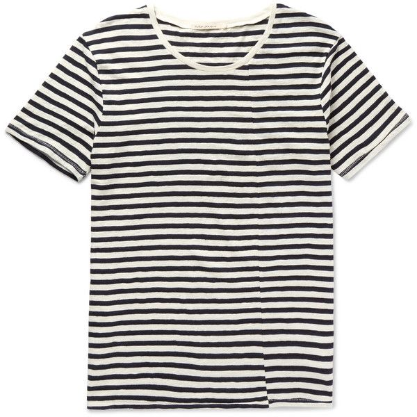 Nudie Jeans Ove Striped Slub Organic Cotton-Jersey T-Shirt ($70) ❤ liked on Polyvore featuring men's fashion, men's clothing, men's shirts, men's t-shirts, mens jersey shirts, mens organic cotton t shirts, mens stripe shirts, mens striped t shirt and mens jersey t shirt