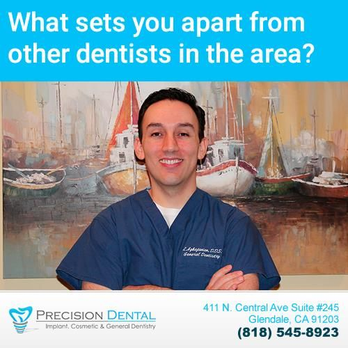 """Dr. Aghajanian says: """"What sets me apart from other dentists in my area (Glendale, CA) is the high level of customer service and highest quality of care. I find many patient that have visited other dental offices express that they never got the time and care that we provide."""" #glendale #california #glendaleca #glendaledentist #dentist"""