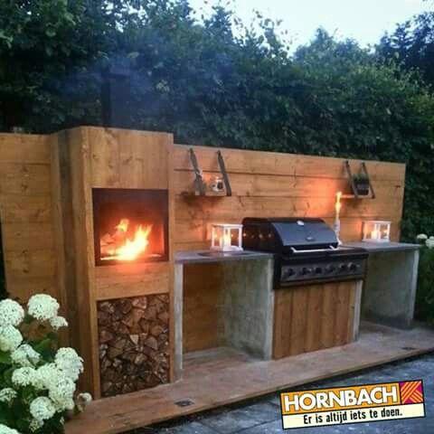 Buitenkeuken steigerhout met beton