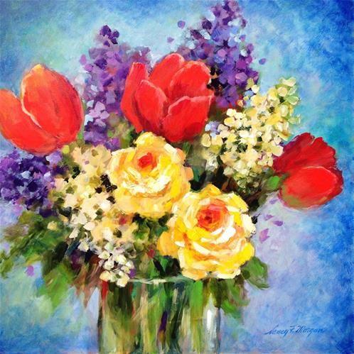 "Daily Paintworks - ""Bouquet on Blue"" - Original Fine Art for Sale - © Nancy F. Morgan"