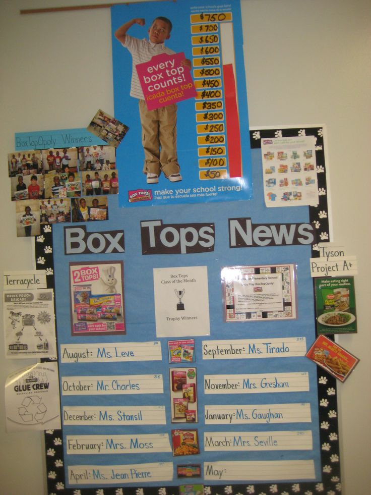 Box Tops News Board! Cute board to keep families up to date on the Box Top Status.