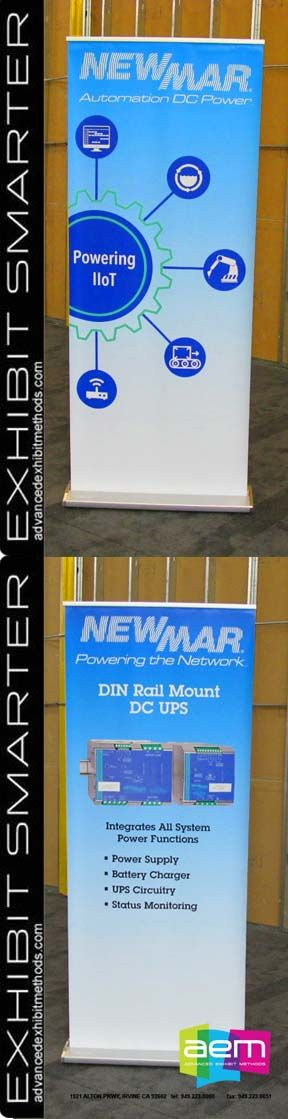 More new interchangeable banner stand graphics for Newmar, using the hardware they own and interchangeable graphic cartridges, making the swapping of graphics, quick, easy and tool-less. Advanced Exhibit Methods 949-223-0000.