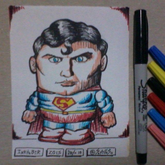 #inktober Day 10 SUPERMAN.  #superhero #ChristopherReeve #superman #kriptonita #ilustración #dibujo #sketch #draw #design #diseño #art #caricatura #toon #arte #artwork #chibi #comic  10/10/2004 Fallece Christopher Reeve, famoso por interpretar al Hombre Acero.