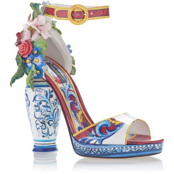 Dolce & Gabbana Embellished Patent-Leather Sandals ($3,595) ❤ liked on Polyvore featuring shoes, sandals, multi, floral shoes, patent leather sandals, shiny shoes, ankle tie sandals and ankle wrap sandals
