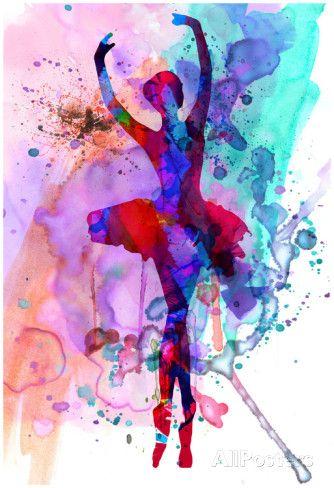 Ballerina's Dance Watercolor 3 Póster