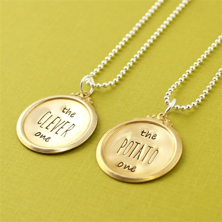 The Clever One & The Potato One Friendship Necklace Set - Spiffing Jewelry - Doctor Who, Eleventh Doctor, Strax