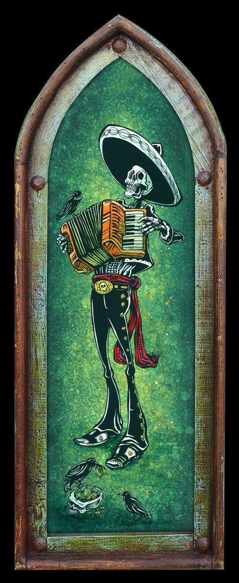 Day of the Dead Artist David Lozeau, Blissful Bellows, Day of the Dead Art, Dia de los Muertos Art, Sugar Skull Art, Candy Skull, Skull Art, Skeleton Art - 2