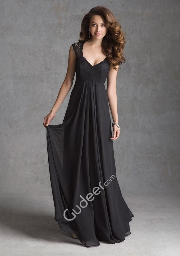 sexy deep v-neck cap sleeve black empire long bridesmaid dress