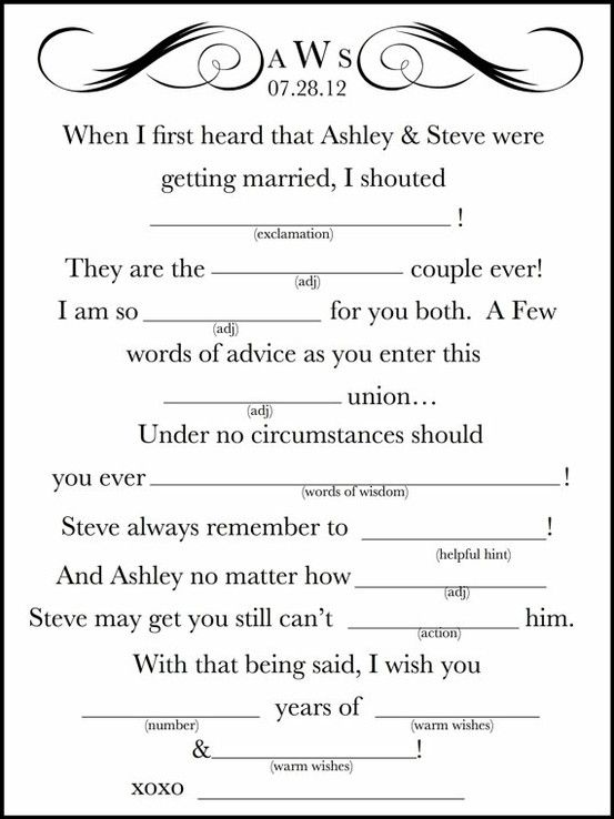 It is a photo of Lively Funny Wedding Mad Libs Printable