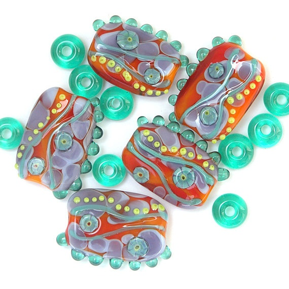 happy days lampwork glass bead set in bright orange purple and aqua