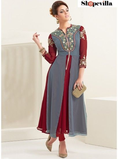 Grey & Maroon Georgette Party Wear Kurti-8020
