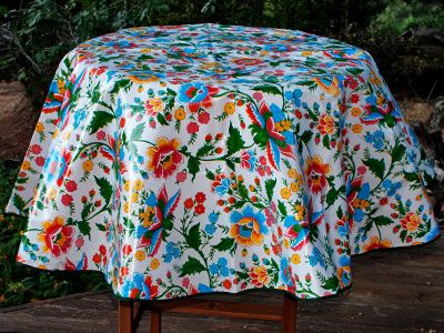 Charming Round Primavera On White Mexican Oilcloth Tablecloth