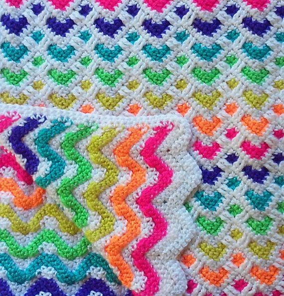 Reversible Crochet Rainbow Baby Hearts/Chevron (Zig-Zag) Blanket | Newborn Infant Boy or Girl Baby Shower Gift