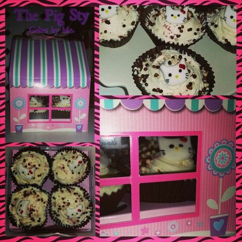 Chocolate Hello Kitty Cupcakes gift boxed as a birthday present for a Special Lady
