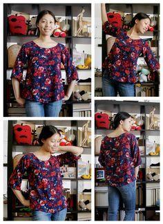 crédit photo blog cation designs Cette simple blouse est très facile à confectionner et c'est un projet de couture idéal pour les débutants. Choisissez un tissu imprimé pour cacher éventuellement les coutures dont vous n'êtes pas fièr(e) et vous pourrez finir les bords (encolure et manches) avec du biais posé à cheval ou bien avec un ourlet fin. Ce qui fait le charme de cette blouse, c'est son air un peu rétro quand elle est portée avec une fine ceinture ou bien rentrée dans une jupe. Le…
