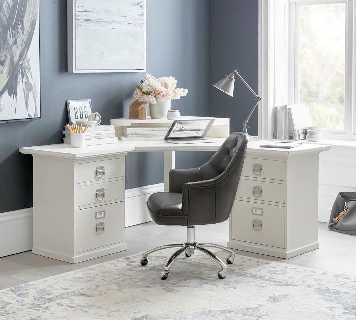 Bedford 5 Drawer Corner Desk Antique White Pottery Barn In 2020 Corner Desk Modular Desk Desk Set
