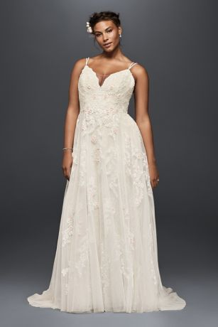 "Appliqued with pearl-centered blush flowers, this scalloped-bodice gown has an irresistibly ethereal feel. The tulle skirt is softly voluminous, and the double-strapped, low back lends a delicate feel.   Melissa Sweet, exclusively at David's Bridal  Plus size wedding dress, with 4"" extra length  Polyester  Chapel train  Back zipper; fully lined  Dry clean  Imported  Also available in regular, petite, and extra length"
