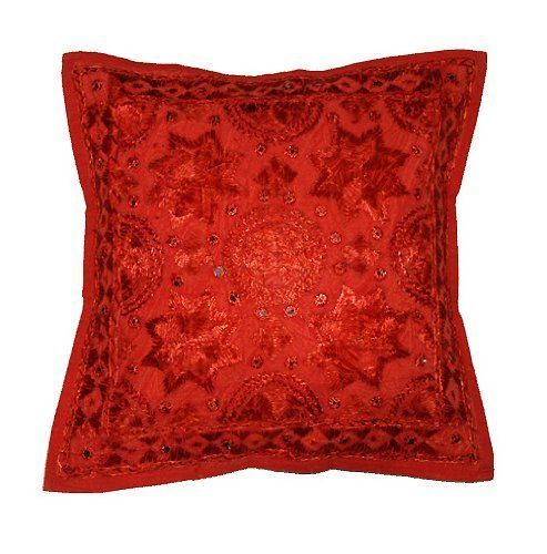 "Cushion Cover Indian 24"" Red Mirror Embroidered Decorative Sofa Throw Pillow  #Handmade #Traditional #CushionCoverPillowCoverSofaDecor"