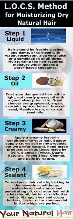 LOC Method for Moisturizing dry natural hair