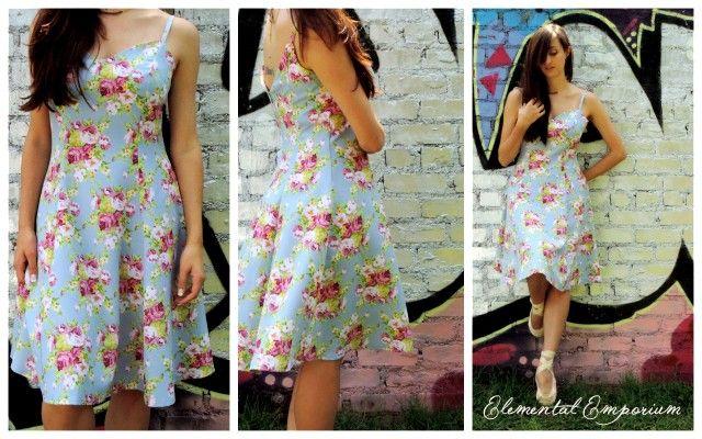 Blue Baby Doll dress with flower detail. Picnic dress | Fashion | Classy | Elegant | Model | Trend | 2015 | Summer  info@elementalemporium.co.za