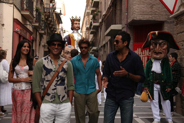 Not the typical Bollywood movie.  Set in Spain--beautiful in every way.  The whole movie is fabulous, in my opinion.  Hritik Roshan plays a really nice character (not that he doesn't usually).     Zindagi Na Milegi Dobara