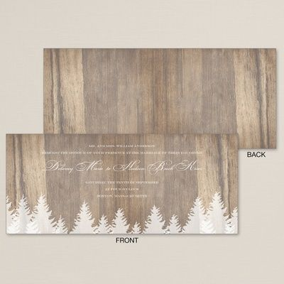 Exclusively Wedding's Winter Woods Wedding Invitation is whimsical and rustic, perfect for your winter wedding affair.