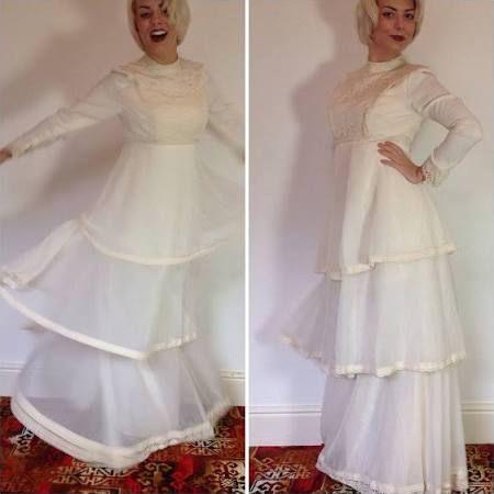 Vintage Tiered 1970 Buttermilk Wedding Dress