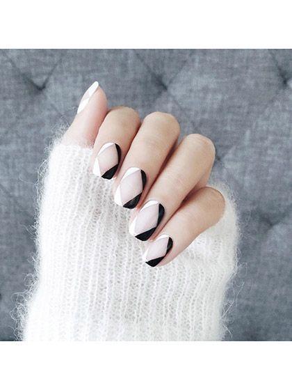 Negative space diamond nail art | allure.com
