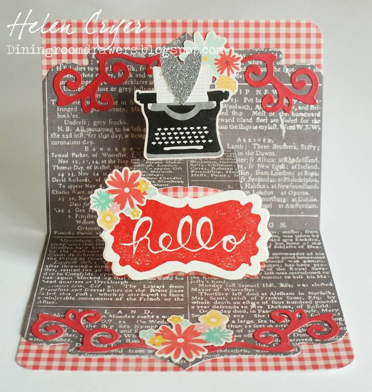 Helen Cryer using the Pop it Ups Lucy Label die by Karen Burniston for Elizabeth Craft Designs - The Dining Room Drawers: Using the 'Undefined' Stampin' Up Stamp Carving Kit, and a Lucy Label Pop Up card