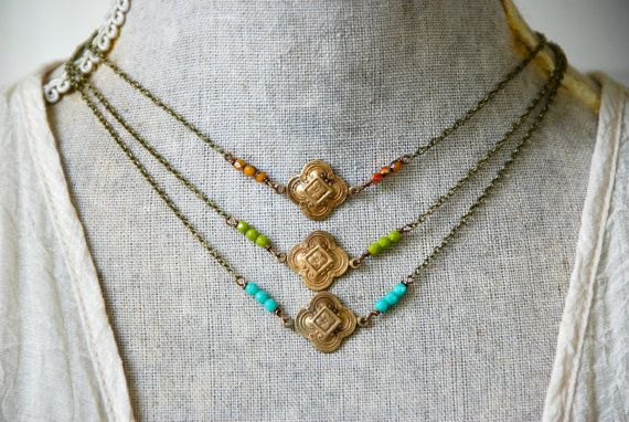 So chic!  Choose one!  features vintage oxidized brass art deco charms,czech glass beads,antique brass chain.  Select color and length desired. Necklace finishes with a lobster claw.