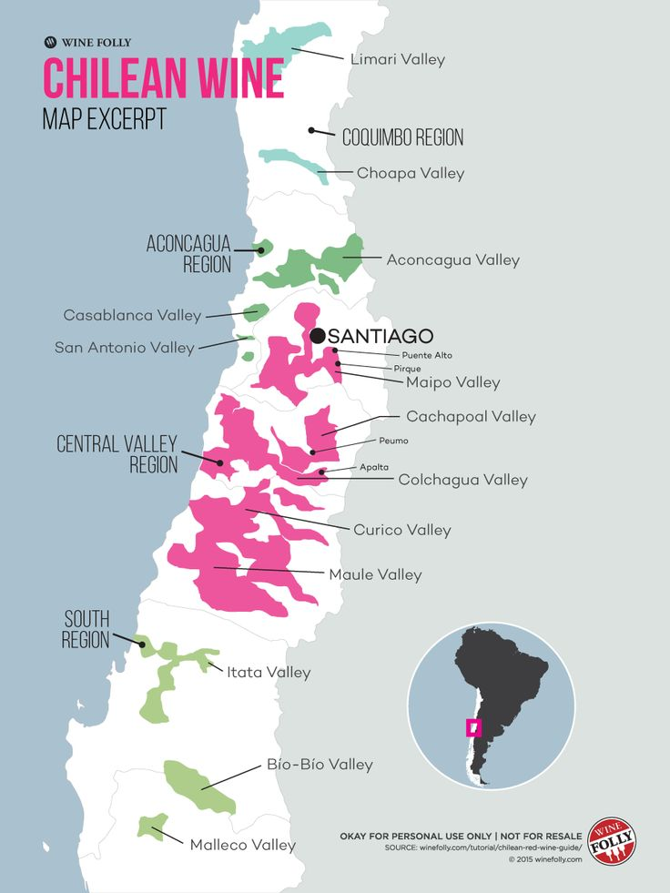 Chile Wine Map Close up Central Valley Region and surrounding zones