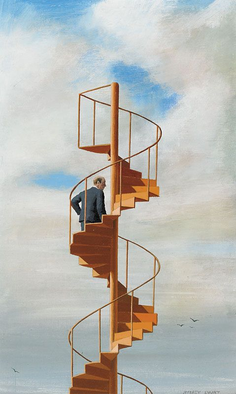 http://meriamber.tumblr.com/ jeffrey smart art artwork stairway suit man sky