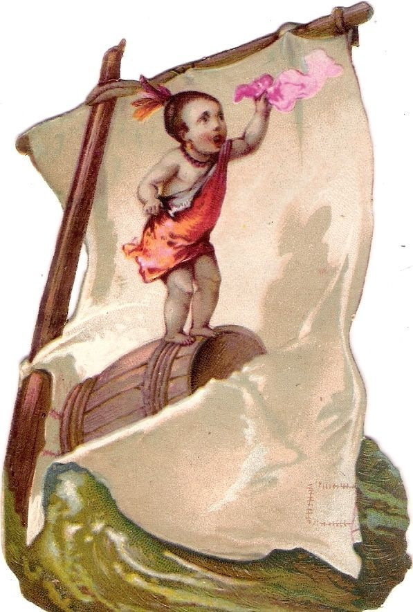 Oblaten Glanzbild scrap diecut chromo black child Kind 11,5cm Segel Boot boat: