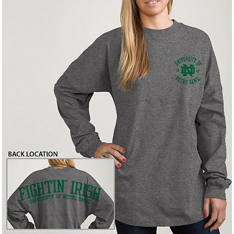 Product: University of Notre Dame Women's Ra Ra Long Sleeve T-Shirt. In yellow??