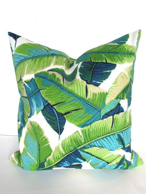 PILLOW Cover 20x20  Lime green Indoor Outdoor Decorative Throw Pillows Teal Blue Outdoor Throw pillow covers Gold Palm Leaves Tropical