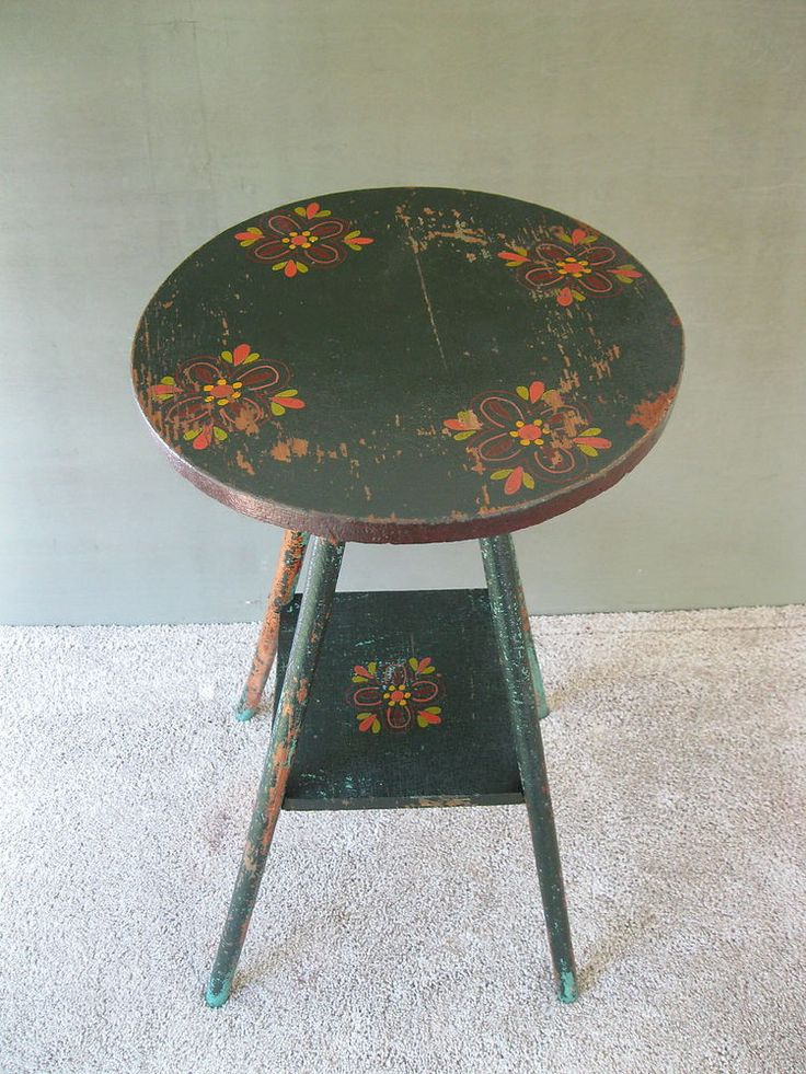 Antique Candle Stand Table, Original Tole Paint