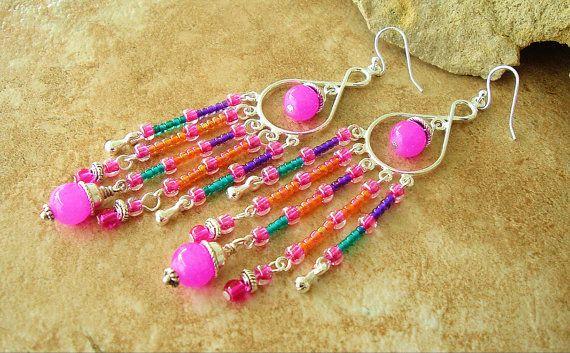Beaded Fringe Chandelier Earrings, Bali Sterling Silver, Pink Glass Beads, Colorful Seed Bead Earrings, Long Fringe Earrings, Bohemian Gypsy