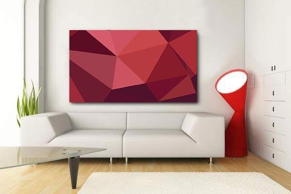 Tableau abstrait Rubis La couleur rouge et la forme triangulaire pour un intérieur design.