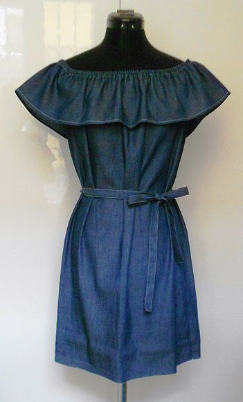 Fodros nyári farmerruha leírással - Off the shoulder summer denim dress - how to sew at home