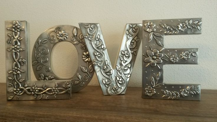 Pewter embossed LOVE letters, created by Sue and BB Handcrafted