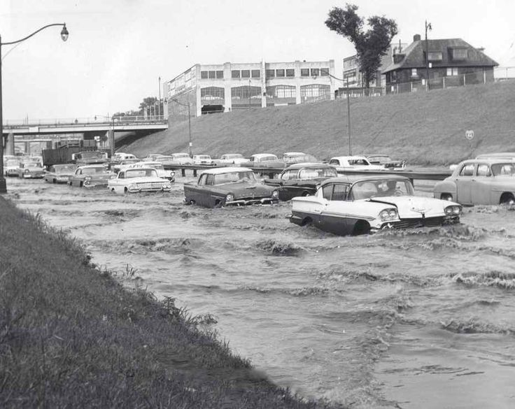 Vintage photo of road flooded from rain, 1961 Detroit, Michigan
