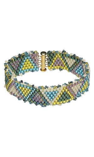 Simple Peyote bracelet - excellent project for following an easy pattern graph for the first time.  PDF download of graph ~ Seed Bead Tutorials