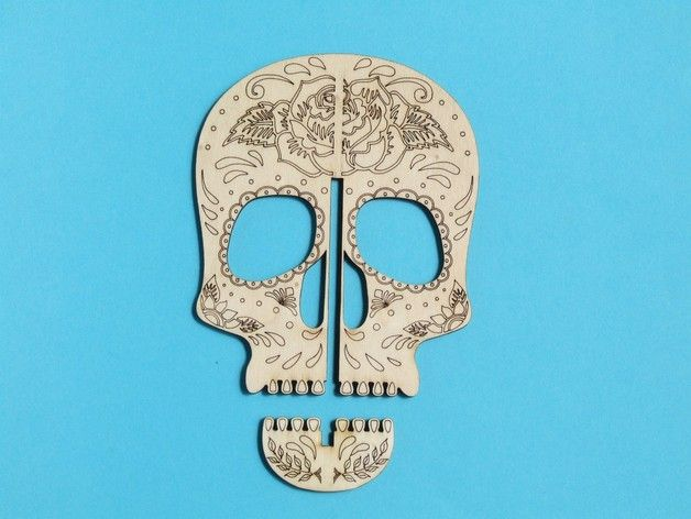 Simple skull laser cut from 4 mm plywood. Pen holder or shelf decor :) Inspiration from Pinterest, drawn and adjusted in Rhinoceros.