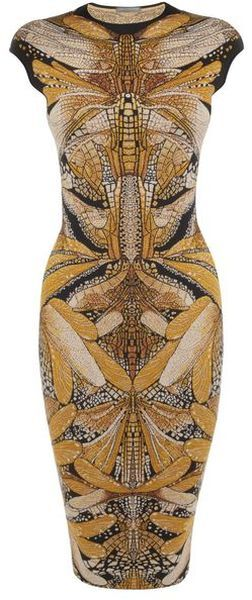 Dragonfly Dress - black & yellow, jacquard knitted pencil dress; bold insect pattern fashion // Alexander McQueen