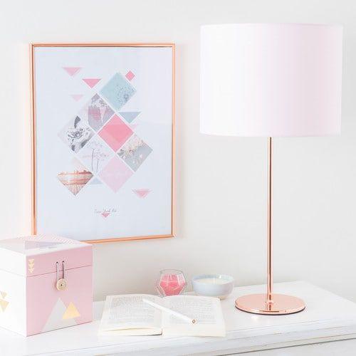 Lampe en métal cuivré et abat-jour rose H 56 cm ISA COPPER