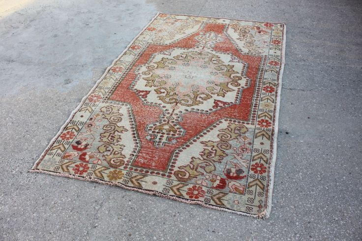 FADED RUG tutkish handmade floral rug bohemian decor rug vintage rugs midcentury rugs authentic rug aztec rug faded rug beautiful rugs cheap by realvintageshop on Etsy https://www.etsy.com/listing/259539554/faded-rug-tutkish-handmade-floral-rug