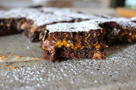 Gluten Free Chocolate Fudge and Caramel Brownies