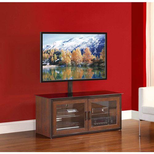 Whalen 3-in-1 TV Stand,Brown Closed Door - Walmart.com