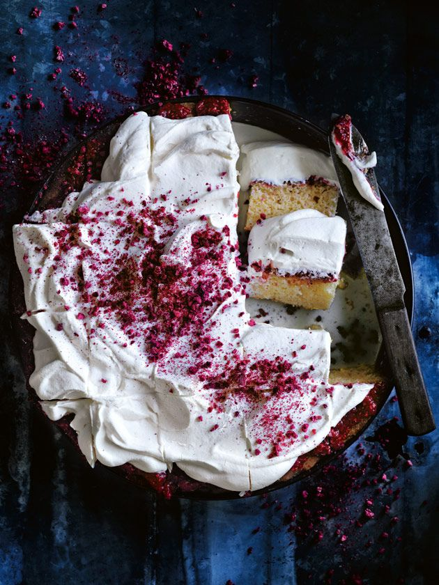 lemon and raspberry three-milk cake